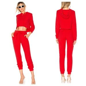 Danielle Guizio Revolve Red Cropped Sweat Suit S